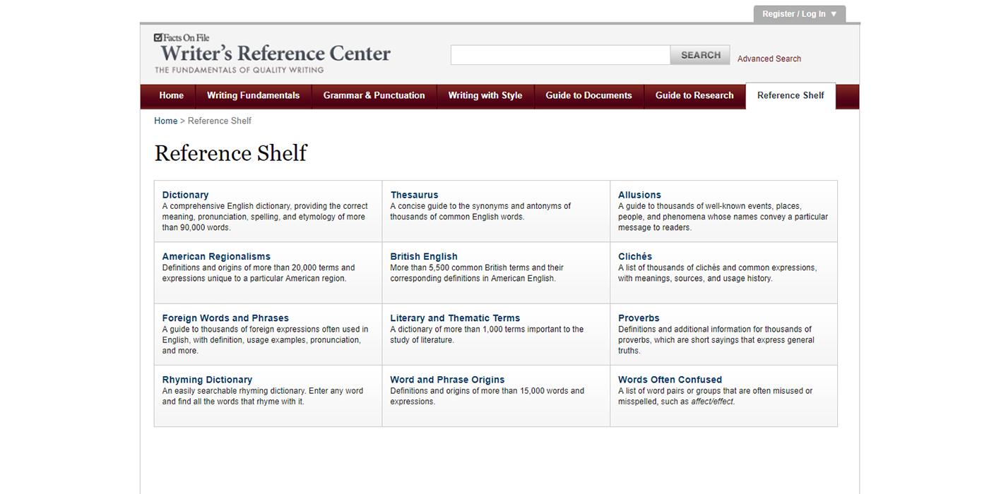 Writer's Reference Center | JCS
